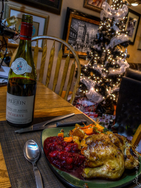 Rock cornish hen with cranberries and mixed vegetables