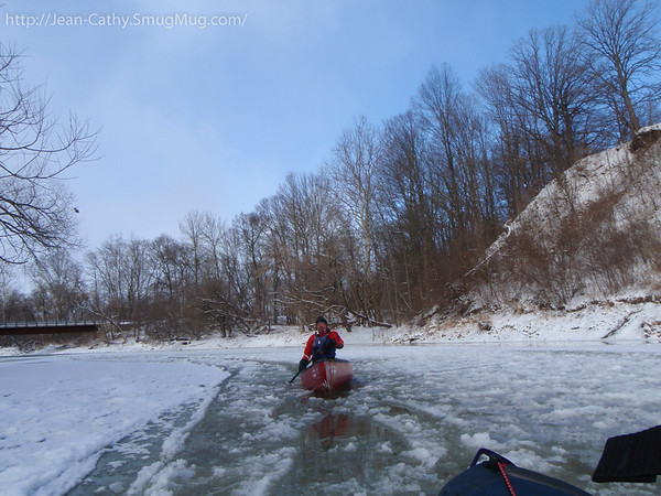 The river was somewhat congested with ice at the begining.