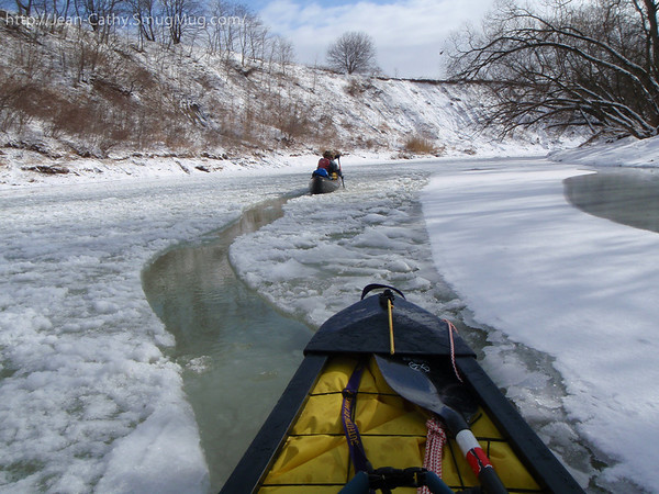 SS Icebreaker is clearing a canoe Width path. An in-auspicious start to our paddle.