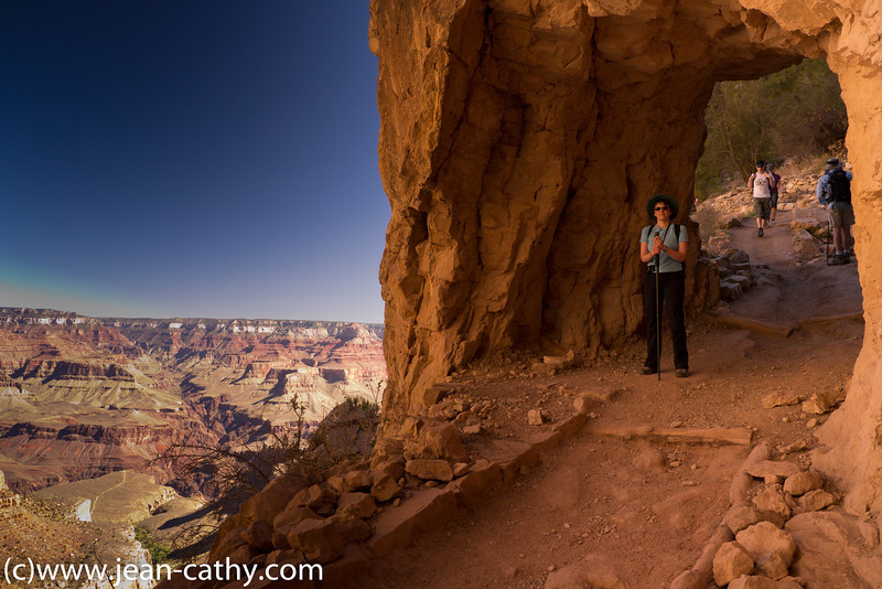 Walking down into the Grand Canyon